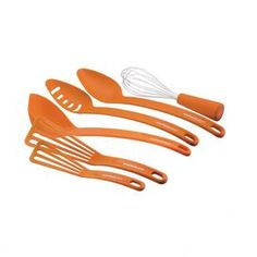 """Add a pop of color to your kitchen accessories with this 6-piece utensil set. Includes a solid spoon, slotted spoon, ladle, balloon whisk, small and large turner. This product is marked for final sale.    Product: Solid spoonSlotted spoonLadleBalloon whiskSmall turner Large turner  Construction Material: Silicone Color: Orange Dimensions: Solid Spoon: 13"""" HSlotted Spoon: 13"""" HLadle: 13"""" HBalloon Whisk: 10"""" H Note: This item is final sale. Returns will not be accepted.  Cleaning and ..."""