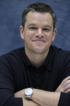 Matt Damon like how he is smiling but his mouth is turned down
