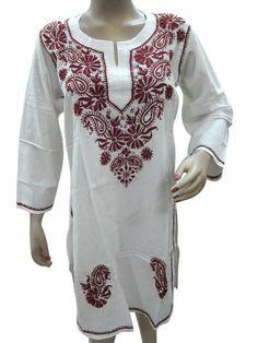 #Womens Tunic Kurta #White Maroon Chikan Embroidered Cotton Kurti Dress #Mogul Interior,http://www.amazon.com/dp/B00HV5OTCC/ref=cm_sw_r_pi_dp_fgX6sb1N6J9PCZDX