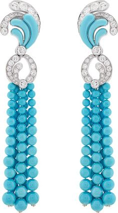 Bora Turquoise Earrings ~ Set with turquoises and diamonds by Van Cleef & Arpels