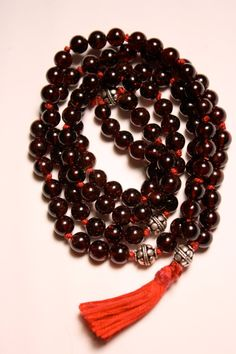 Garnet Mala Beads with Sterling Silver by QuietMind on Etsy, $85.00. Use coupon code CyberMon for 20% off.
