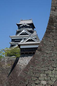 Impregnable walls of Kumamoto castle, Japan