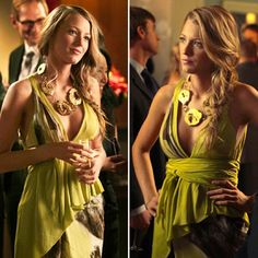 Gossip Girl [War at the Roses episode] - Blake Lively as Serena van der Woodsen is wearing: J Mendel georgette wrap gown and Susanna Galanis gold-plated agate chunky necklace.