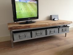 🌟 💖 🌟 💖 Tv stand-by - & & Graining& Metal bins with wood Tv Furniture, Timber Furniture, Furniture Design, Tv Stand Unit, Home Coffee Tables, Home Hacks, Wood Design, Home And Living, Living Room Decor