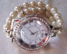 Pearl Interchangeable Beaded Watch Band and Face by BeadsnTime, $25.00