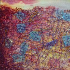 Evening Embers - Painted papers and free machine embroidery.