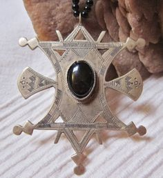 Big Tuareg Compass Cross Silver with Onyx by TuaregJewelry on Etsy, $138.00