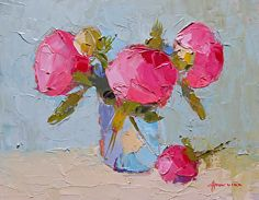 """Little Peonies by Carol Maguire Oil ~ 8"""" x 10'"""