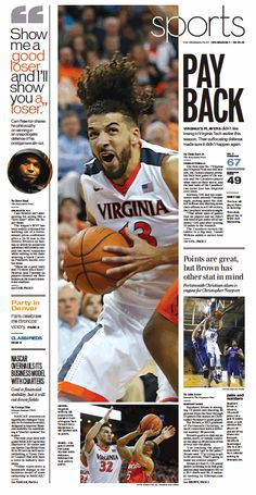 The Virginian-Pilot's Sports front page for Wednesday, Feb. 10, 2016.