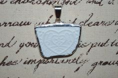 Recycled Broken Bisque China Pendant Heart Design Necklace   #Handmade #Chain