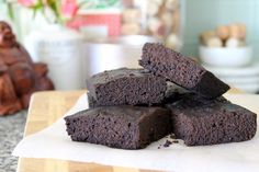 Dark chocolate brownies made with coconut oil and whole wheat flour