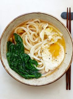 Udon with egg and greens.