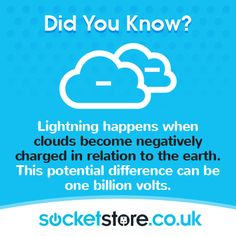 Lightning happens when clouds become negatively charged in relation to the earth. This potential difference can be one billion volts. #energy #power #weather #sky #clouds #lightning #thunder #storm #light #electricity #socketstore #facts