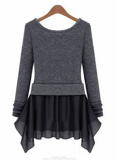 Dark Grey Long Sleeve Ruffles Pockets Dress - Sheinside.com