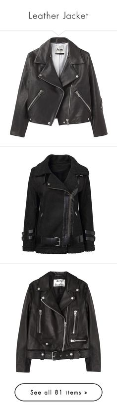 """""""Leather Jacket"""" by anna-fozo ❤ liked on Polyvore featuring outerwear, jackets, tops, coats, motorcycle jacket, white and black jacket, leather motorcycle jacket, biker jackets, genuine leather jackets and yoins"""