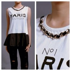 New collection  Paris tee w/ chain neckpin (white) IDR 205,000