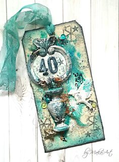 My mixed media birthday tag... Hello everyone!   For the December challenge  of  Mixed Media & Art I created a birthday tag. I was inspired by the wonderful colours o...