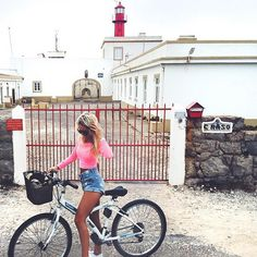 Bicycle rides & lighthouses  by @lea_marieb  This time in #Cascais #Portugal. Bikes are coming from every corner of the world today!  Cascais is well know for its coastline and naturally for its lighthouses! Great photo Lea. :)