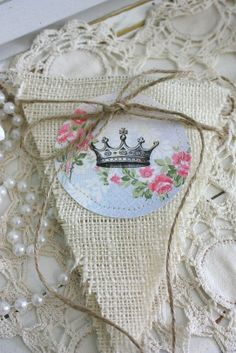 French  banner with crown and cottage by victorianstation on Etsy, $14.00