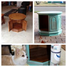 Dog bed end table! Re-purposed, up-cycled old table turned into an adorable house for our pup.