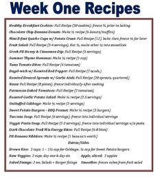 weekly meal plan for one