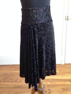 Beautiful asymmetric tango skirt velvet flowers by BellaTango