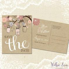 Save the Date Postcard - Vintage Mason Jar Save the Date Card - Peach Blush Pink Save the Date - Kraft Rustic Barn Wedding - 4003 -PRINTABLE...