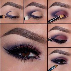 tutorial de maquillaje de ojos para noche en color morado