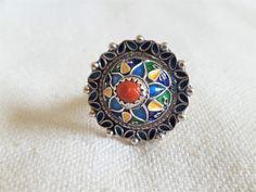 silber kabylen ring mit emallie und  rote koralle von etuareg auf Etsy