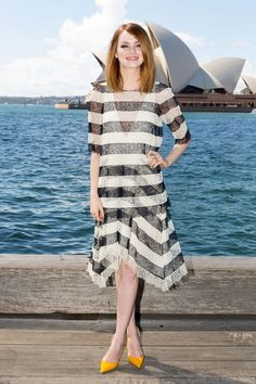 Emma Stone in an adorable striped Chloe dress