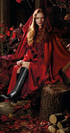 AW15 - Red Riding Hood Blaze black leather boots by fairytale fitters Ted & Muffy.