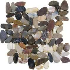 Style Selections River Rock Multicolor Flat Polished Pebble Mosaic Indoor/Outdoor Wall Tile (Common: 13-in x 13-in; Actual: 12-in x 12-in)