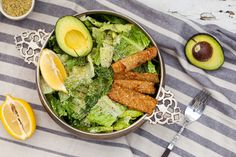 Hemp Seeds are the star of the show in this Vegan Caesar Salad. Topped with Tempeh Bacon and Hemp Parmesan for tons of flavor without oil, gluten, or nuts.