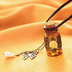 $3.28 Stylish Trendy Beads Flower Pattern Carved Bottle Pendant Sweater Chain Necklace For Women