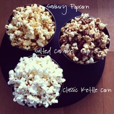 3 popcorn recipes: savoury popcorn, salted caramel, and classic kettle corn.