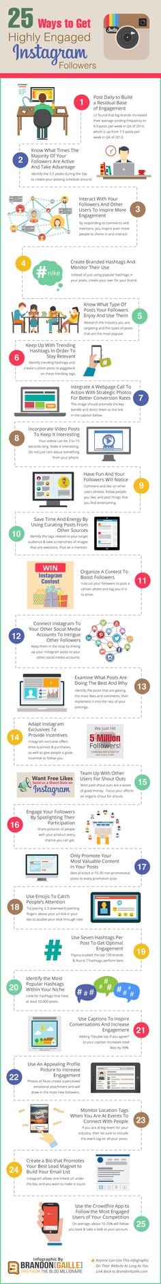 25 Ways To Get Highly Engaged Instagram Followers - If Instagram is a lonely place for you then these 25 tips will help you grow your following and get more engaging Instagram followers. Simple as that! #infographic