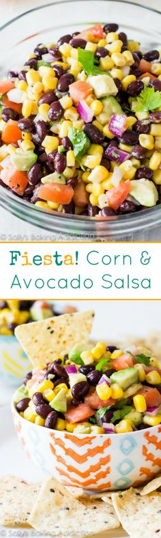 This is my favorite salsa-- it's loaded with texture, flavor, and chunks of your favorites like corn, beans, and avocado! Corn Avacado Tomato Salad, Avocado Bean Salad, Avacado Salsa Recipe, Corn And Bean Salad, Tomato And Onion Salad, Avacado Dip, Summer Corn Salad, Summer Salsa, Salsa Salad