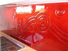 {Natural & manmade materials}: Beautiful kitchen splashback painted Wathaurong red - Slumped glass splashback painted red with running water hole design. Kitchen Stuff, New Kitchen, Slumped Glass, Splashback, Glass Kitchen, Reno Ideas, Beautiful Kitchens, Kitchen Designs, Running