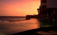 Sunset at the infinity pool. Grand Solmar Land's End. Cabo San Lucas, Mexico.