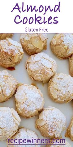 Almond Cookies - Gluten Free are irresistible. Chewy outer, with a lovely little crunch from the toasted almonds and a soft centre of almonds and orange zest. Just five ingredients brings these cookies together in half an hour including baking time. Italian Cookie Recipes, Gf Recipes, Almond Recipes, Gluten Free Recipes, Sweet Recipes, Dessert Recipes, Cooking Recipes, Nutella Recipes, Spinach Recipes