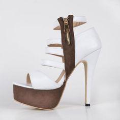 White Sandals For Women Faux Leather Women's Pump Fashion High Heel Sandala with Zipper Shoes Women High Heels Stilettos Brown Platform, $211.84 | DHgate.com