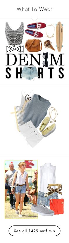 """""""What To Wear"""" by lorisgolfshoppe ❤ liked on Polyvore featuring T By Alexander Wang, Keds, Burleigh, J.Crew, jeanshorts, denimshorts, cutoffs, Victoria's Secret, EF Collection and Tiffany & Co."""