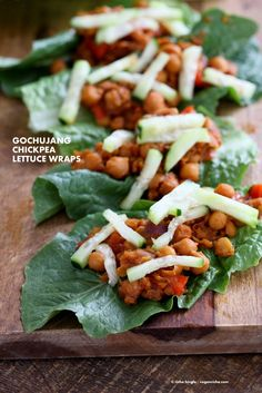 Sweet Spicy Gochujang Chickpea Lettuce Wraps. Easy Wraps with Korean Gochujang Sauce with Chickpeas. Use lentils, white beans or other beans for variation. Serve as lettuce wraps or in tacos or top a salad bowl. Vegan Gluten-free Recipe. | VeganRicha.com