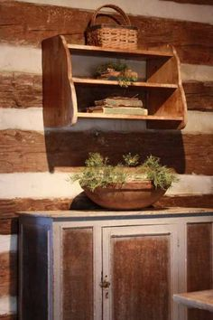 """Prim Cupboard & Shelf...my room i call the """" log room"""" is like this!! Built in 1789!! Its my favorite room in the house!!"""