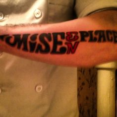 Mise en place chefs tattoo, awesome, shape of a chef knife.