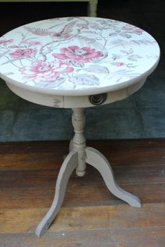 Small Side Table Shabby Chic Decoupage Top, £45.00 by Vintage Treasures: Small Side Table, Chalk painted/distressed finish in Cocoa. Decoupage top, small opening drawer