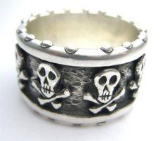 Pirate Skull Custom Crossbones Band Memento Mori R024 by RXVrings, $300.00