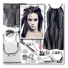 """Flirty summer dress...www.shein.com 1"" by pokadoll ❤ liked on Polyvore featuring STELLA McCARTNEY, Pieces, Clinique, Deborah Lippmann, Sheinside and shein"