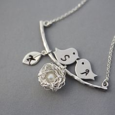Mom to be Necklace . Sterling Silver Nest Necklace by MonyArt, $46.80