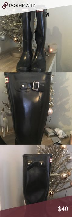 Tall Hunter Boots Tall Glossy Hunter Boots. One side buckle is missing but otherwise they are in great condition and have a ton of wear left in them. EU size 39 US size 9. Hunter Boots Shoes Winter & Rain Boots
